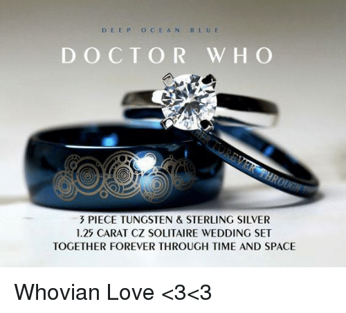 ocean blue: D EEP OCEAN BLUE  DOCTOR W HO  PIECE TUNGSTEN & STERLING SILVER  1.25 CARAT CZ SOLITAIRE WEDDING SET  TOGETHER FOREVER THROUGH TIME AND SPACE Whovian Love <3<3