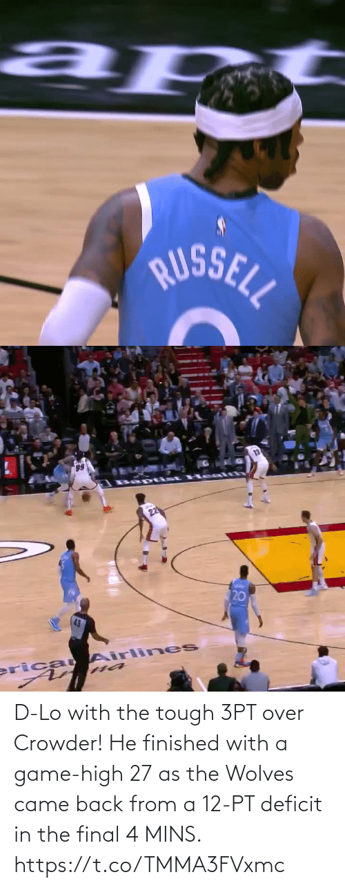 final: D-Lo with the tough 3PT over Crowder!   He finished with a game-high 27 as the Wolves came back from a 12-PT deficit in the final 4 MINS.    https://t.co/TMMA3FVxmc
