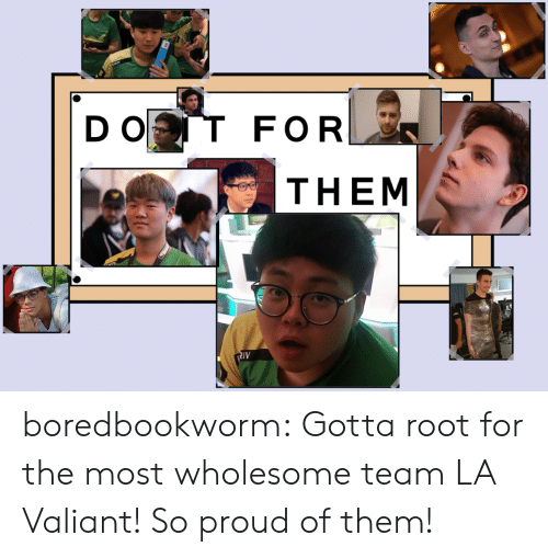 valiant: D O  FOR  THEM  IV boredbookworm:    Gotta root for the most wholesome team LA Valiant!So proud of them!