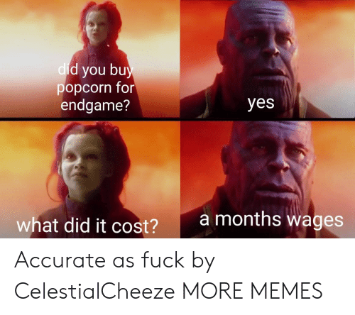 Popcorn: d you bu  popcorn for  endgame?  dic  yes  amonths wages  what did it cost?  2 Accurate as fuck by CelestialCheeze MORE MEMES