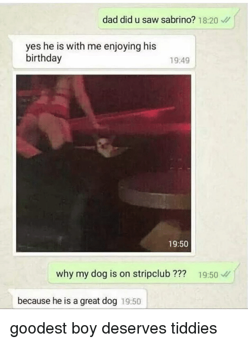 Birthday, Dad, and Memes: dad did u saw sabrino? 18:20  yes he is with me enjoying his  birthday  1949  19:50  why my dog is on stripclub??? 19:50  because he is a great dog 19:50 goodest boy deserves tiddies