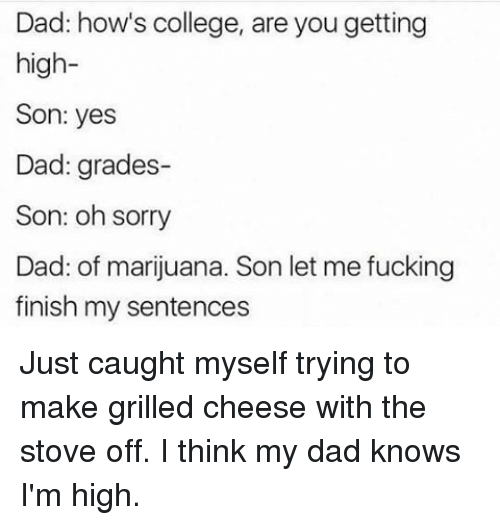 College, Dad, and Fucking: Dad: how's college, are you getting  high  Son: yes  Dad: grades-  Son: oh sorry  Dad: of marijuana. Son let me fucking  finish my sentences Just caught myself trying to make grilled cheese with the stove off. I think my dad knows I'm high.