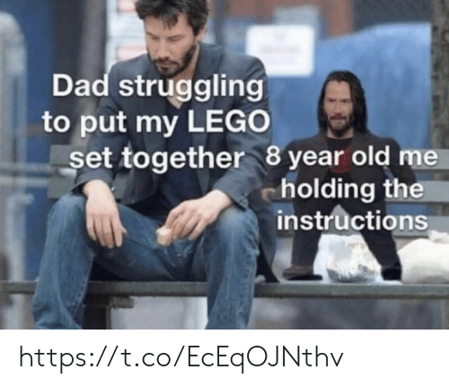 Dad, Lego, and Memes: Dad struggling  to put my LEGO  set together 8 year old me  cholding the  instructions https://t.co/EcEqOJNthv