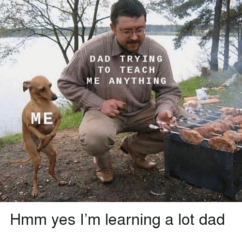 Dad, Memes, and 🤖: DAD TRYIN G  TO TEACH  ME ANYTHING  ME Hmm yes I'm learning a lot dad