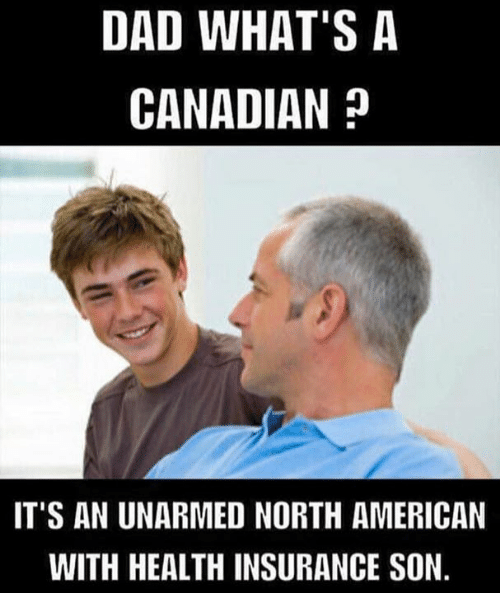 Health Insurance: DAD WHAT'S A  CANADIAN ?  IT'S AN UNARMED NORTH AMERICAN  WITH HEALTH INSURANCE SON.
