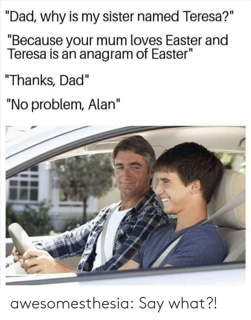 """Dad, Easter, and Tumblr: """"Dad, why is my sister named Teresa?""""  """"Because your mum loves Easter and  Teresa is an anagram of Easter""""  Thanks, Dad""""  """"No problem, Alan"""" awesomesthesia:  Say what?!"""