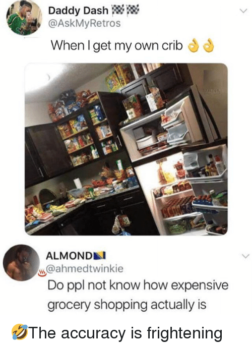 Memes, Shopping, and Frightening: Daddy Dash  @AskMyRetros  When l get my own crib  ALMOND  @ahmedtwinkie  Do ppl not know how expensive  grocery shopping actually is 🤣The accuracy is frightening