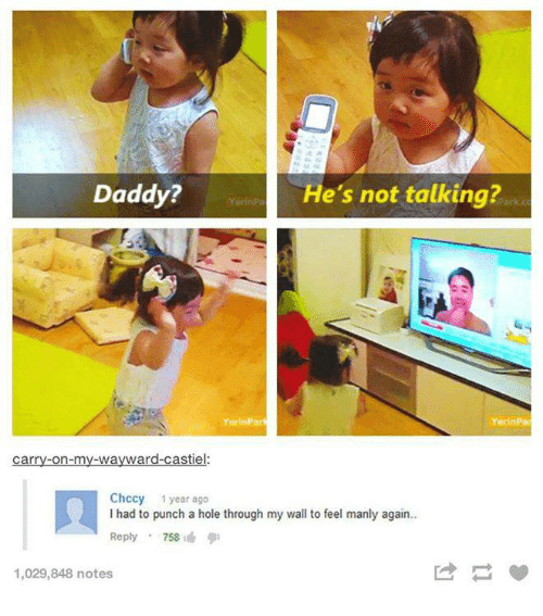 Cars, Holes, and Humans of Tumblr: Daddy?  He's not talking?  YorinParf  YerinPa  Car  Chccy 1 year ago  I had to punch a hole through my wall to feel manly again..  Reply  758  1,029,848 notes
