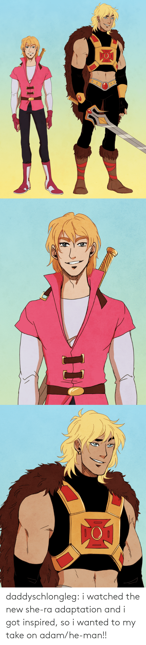 adam: daddyschlongleg:  i watched the new she-ra adaptation and i got inspired, so i wanted to my take on adam/he-man!!