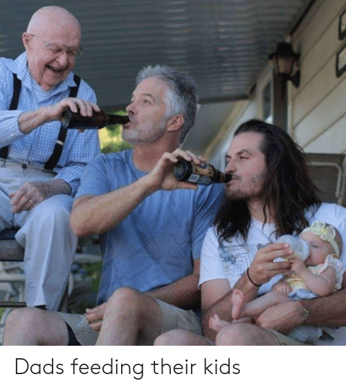 Kids, Dads, and Their: Dads feeding their kids