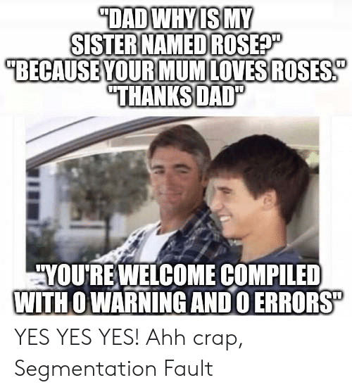 "Yes, Segmentation, and Yes Yes: DADWHYIS MY  SISTER NAMED ROSEP  ""BECAUSE YOUR MUMLOVESROSES  ""THANKSDAD""  YOURE WELCOME COMPILED  WITH O WARNING ANDO ERRORS"" YES YES YES! Ahh crap, Segmentation Fault"