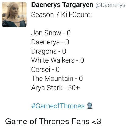 Game of Thrones, Memes, and Jon Snow: Daenerys Targaryen @Daenerys  Season 7 Kill-Count:  Jon Snow - 0  Daenerys -0  Dragons -0  White Walkers - 0  Cersei - 0  The Mountain - 0  Arya Stark - 50+  Game of Thrones Fans <3