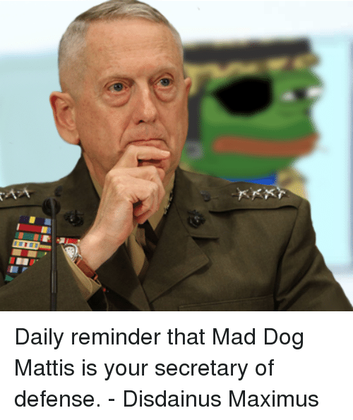 Dogs, Maximus, and Memes: Daily reminder that Mad Dog Mattis is your secretary of defense.  - Disdainus Maximus