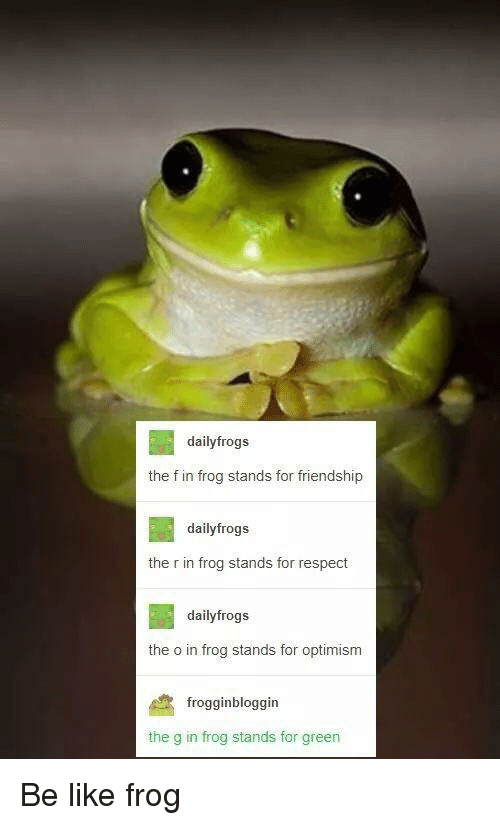 Be Like, Respect, and Friendship: dailyfrogs  the f in frog stands for friendship  dailyfrogs  the r in frog stands for respect  dailyfrogs  the o in frog stands for optimism  frogginbloggin  the g in frog stands for green Be like frog