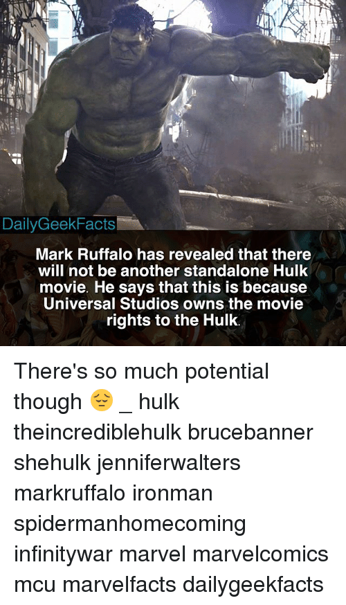 Memes, Hulk, and Mark Ruffalo: DailyGeekFacts  Mark Ruffalo has revealed that there  will not be another standalone Hulk  movie. He says that this is because  Universal Studios owns the movie  rights to the Hulk. There's so much potential though 😔 _ hulk theincrediblehulk brucebanner shehulk jenniferwalters markruffalo ironman spidermanhomecoming infinitywar marvel marvelcomics mcu marvelfacts dailygeekfacts