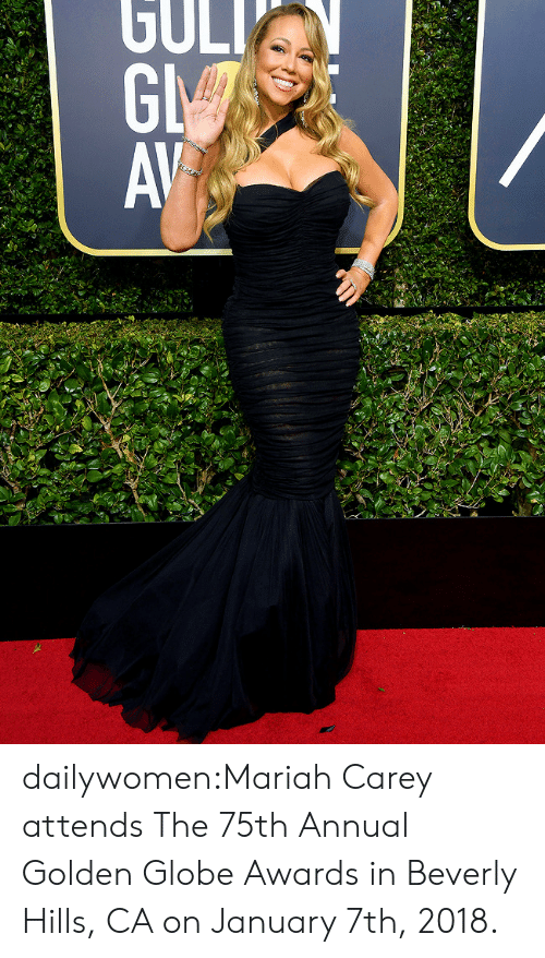 Mariah Carey, Tumblr, and Blog: dailywomen:Mariah Carey attends The 75th Annual Golden Globe Awards in Beverly Hills, CA on January 7th, 2018.