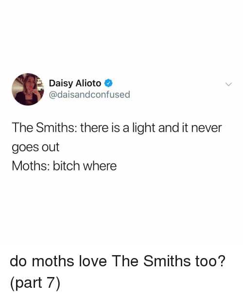 Bitch, Love, and Relatable: Daisy Alioto  @daisandconfused  The Smiths: there is a light and it never  goes out  Moths: bitch where do moths love The Smiths too? (part 7)
