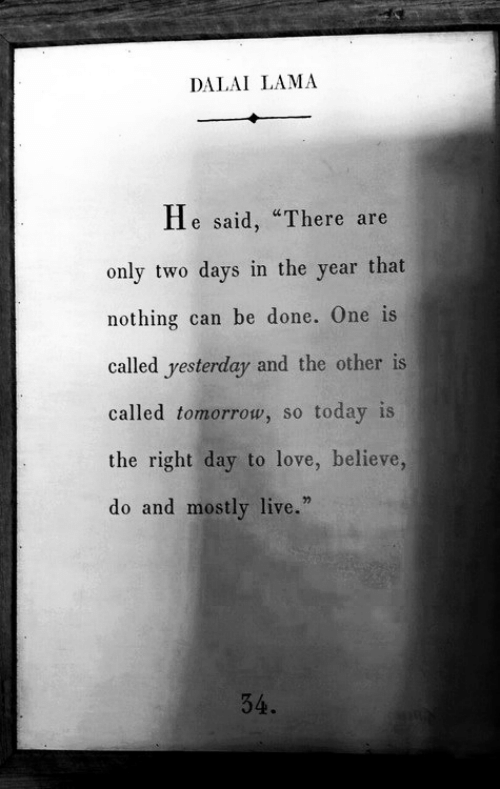 """Love, Dalai Lama, and Live: DALAI LAMA  He said, """"There are  only two days in the year that  nothing can be done. One is  called yesterday and the other is  called tomorrow, so today is  the right day to love, believe,  do and mostly live.""""  34."""