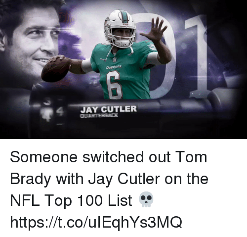 Anaconda, Football, and Jay: Dalphins  24JAY CUTLER Someone switched out Tom Brady with Jay Cutler on the NFL Top 100 List 💀 https://t.co/uIEqhYs3MQ