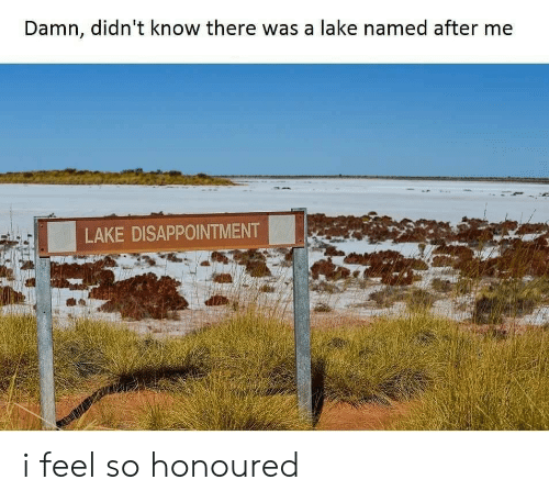 Feel, Damn, and Disappointment: Damn, didn't know there was a lake named after me  LAKE DISAPPOINTMENT i feel so honoured