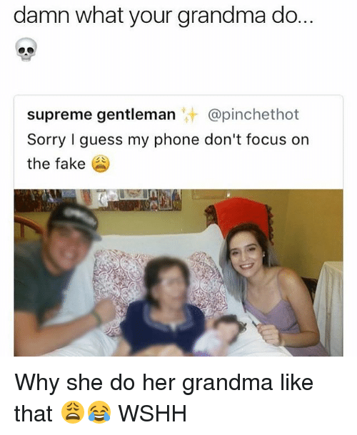 Fake, Grandma, and Memes: damn what your grandma do.  supreme gentleman @pinchethot  Sorry I guess my phone don't focus on  the fake Why she do her grandma like that 😩😂 WSHH