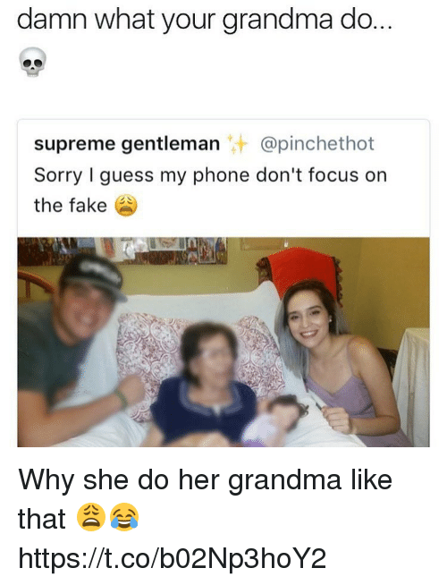 Fake, Grandma, and Phone: damn what your grandma do.  supreme gentleman @pinchethot  Sorry I guess my phone don't focus on  the fake Why she do her grandma like that 😩😂 https://t.co/b02Np3hoY2