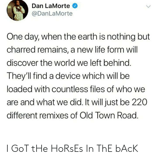 Horses, Life, and Discover: Dan LaMorte  @DanLaMorte  One day, when the earth is nothing but  charred remains, a new life form will  discover the world we left behind.  They'll find a device which will be  loaded with countless files of who we  are and what we did. It will just be 220  different remixes of Old Town Road. I GoT tHe HoRsEs In ThE bAcK