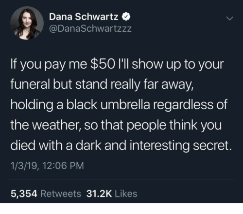 Black, The Weather, and Weather: Dana Schwartz  @DanaSchwartzzz  If you pay me $50 I'll show up to your  funeral but stand really far away,  holding a black umbrella regardless of  the weather, so that people think you  died with a dark and interesting secret  1/3/19, 12:06 PM  5,354 Retweets 31.2K Likes