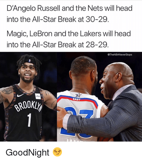 All Star, Head, and Los Angeles Lakers: D'Angelo Russell and the Nets will head  into the All-Star Break at 30-29.  Magic, LeBron and the Lakers will head  into the All-Star Break at 28-29.  @TheNBANeverStops  nfor  EAST GoodNight 😏