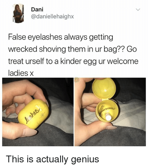 Memes, Genius, and 🤖: Dani  @daniellehaighx  False eyelashes always getting  wrecked shoving them in ur bag?? Go  treat urself to a kinder egg ur welcome  ladies x This is actually genius