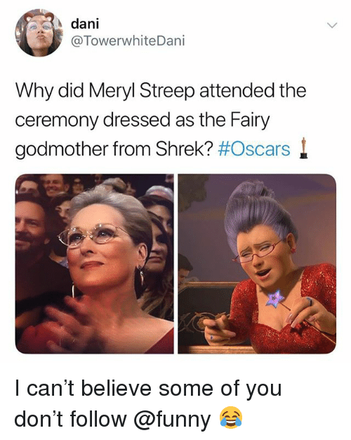 meryl: dani  @TowerwhiteDani  Why did Meryl Streep attended the  ceremony dressed as the Fairy  godmother from Shrek? I can't believe some of you don't follow @funny 😂