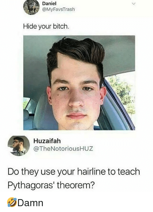 Bitch, Hairline, and Memes: Daniel  @MyFavsTrash  Hide your bitch.  Huzaifah  @TheNotoriousHUZ  Do they use your hairline to teach  Pythagoras' theorem? 🤣Damn
