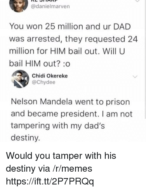 Nelson Mandela: @danielmarven  You won 25 million and ur DAD  was arrested, they requested 24  million for HIM bail out. Will U  bail HIM out? :o  Chidi Okereke  @Chydee  Nelson Mandela went to prison  and became president. I am not  tampering with my dad's  destiny Would you tamper with his destiny via /r/memes https://ift.tt/2P7PRQq