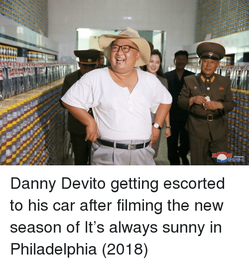 Philadelphia, Always Sunny, and Always Sunny in Philadelphia: Danny Devito getting escorted to his car after filming the new season of It's always sunny in Philadelphia (2018)