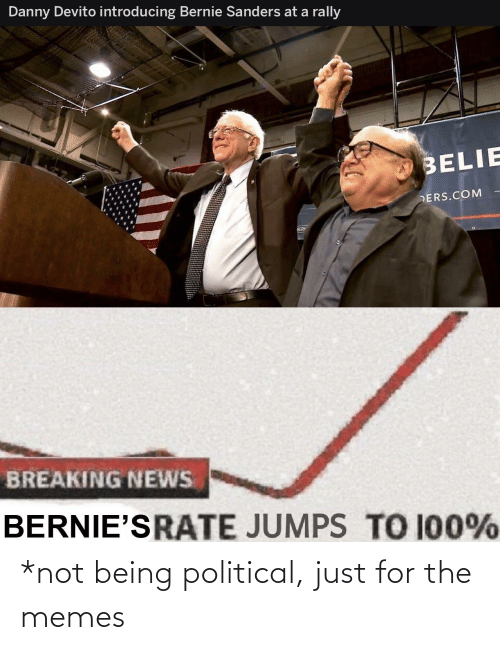 ders: Danny Devito introducing Bernie Sanders at a rally  BELIE  DERS.COM  BERN  BREAKING NEWS  BERNIE'SRATE JUMPS TO 100% *not being political, just for the memes