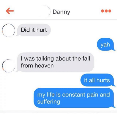 Fall, Heaven, and Life: Danny  Did it hurt  yah  I was talking about the fall  from heaven  it all hurts  my life is constant pain and  suffering