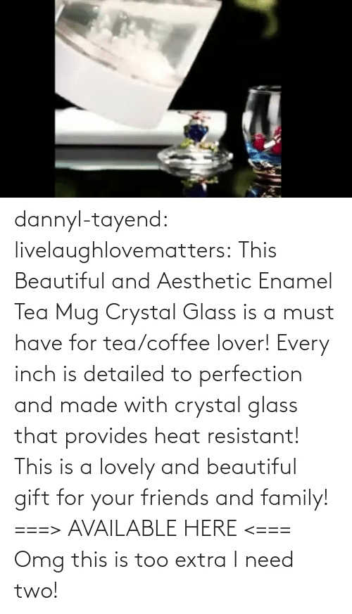 This Is A: dannyl-tayend:  livelaughlovematters:   This Beautiful and Aesthetic Enamel Tea Mug Crystal Glass is a must have for tea/coffee lover! Every inch is detailed to perfection and made with crystal glass that provides heat resistant! This is a lovely and beautiful gift for your friends and family! ===> AVAILABLE HERE <===    Omg this is too extra I need two!