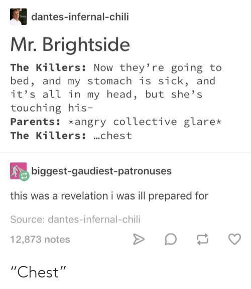 """revelation: dantes-infernal-chili  Mr. Brightside  The Killers: Now they're going to  bed, and my stomach is sick, and  it's all in my head, but she's  touching his  Parents: *angry coLlective glare*  The Killers: ...chest  biggest-gaudiest-patronuses  this was a revelation i was ill prepared for  Source: dantes-infernal-chili  12,873 notes """"Chest"""""""