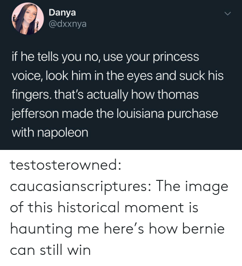 Bernie: Danya  @dxxnya  if he tells you no, use your princess  voice, look him in the eyes and suck his  fingers. that's actually how thomas  jefferson made the louisiana purchase  with napoleon testosterowned:  caucasianscriptures: The image of this historical moment is haunting me  here's how bernie can still win