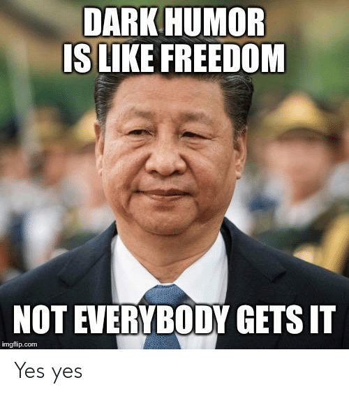 Freedom: DARK HUMOR  IS LIKE FREEDOM  NOT EVERYBODY GETS IT  imgflip.com Yes yes