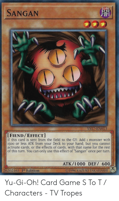 DARK SANGAN YS17-ENO13 FIENDEFFECT if This Card Is Sent From