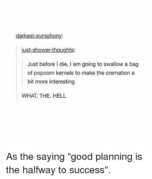 """dieing: darkest-symphony:  just-shower-thoughts:  Just before I die, I am going to swallow a bag  of popcorn kernels to make the cremation a  bit more interesting  WHAT. THE. HELL As the saying """"good planning is the halfway to success""""."""