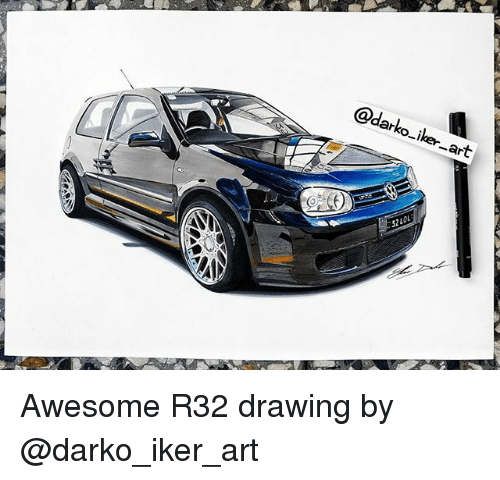 Memes, Awesome, and 🤖: @darko-iker art  OL  32 Awesome R32 drawing by @darko_iker_art