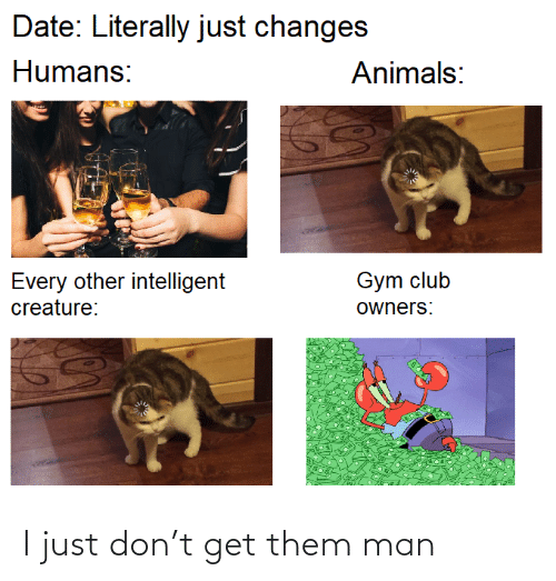 literally: Date: Literally just changes  Humans:  Animals:  Gym club  Every other intelligent  creature:  owners: I just don't get them man