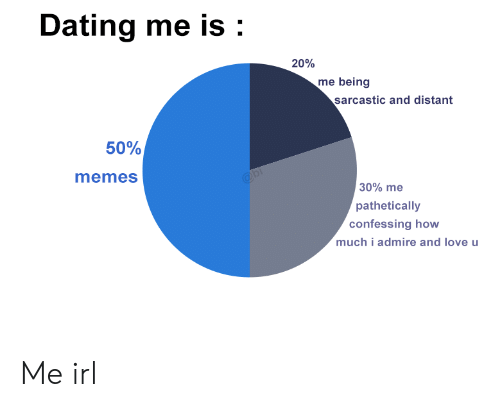 Dating, Love, and Memes: Dating me is:  20%  me being  sarcastic and distant  50%  memes  30% me  pathetically  confessing how  much i admire and love u Me irl