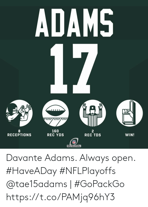 Adams: Davante Adams. Always open. #HaveADay #NFLPlayoffs   @tae15adams | #GoPackGo https://t.co/PAMjq96hY3