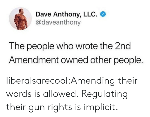 2nd Amendment: Dave Anthony, LLC.  @daveanthony  The people who wrote the 2nd  Amendment owned other people. liberalsarecool:Amending their words is allowed. Regulating their gun rights is implicit.