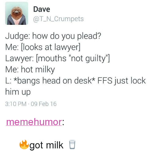 "Head, Lawyer, and Tumblr: Dave  @T_N_Crumpets  Judge: how do you plead?  Me: [looks at lawyer]  Lawyer: [mouths ""not guilty]  Me: hot milky  L: *bangs head on desk* FFS just lock  him up  3:10 PM 09 Feb 16 <p><a href=""http://memehumor.net/post/165487051102/got-milk"" class=""tumblr_blog"">memehumor</a>:</p>  <blockquote><p>🔥got milk 🥛</p></blockquote>"