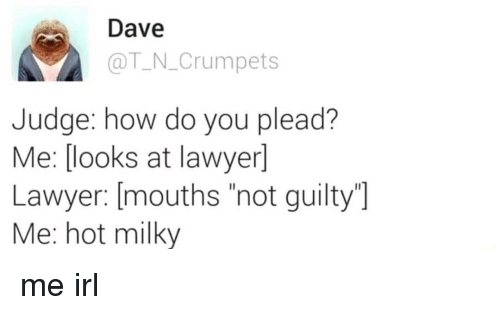 "Lawyer, Irl, and Me IRL: Dave  @T N.Crumpets  Judge: how do you plead?  Me: [ooks at lawyer]  Lawyer: [mouths ""not guilty  Me: hot milky me irl"