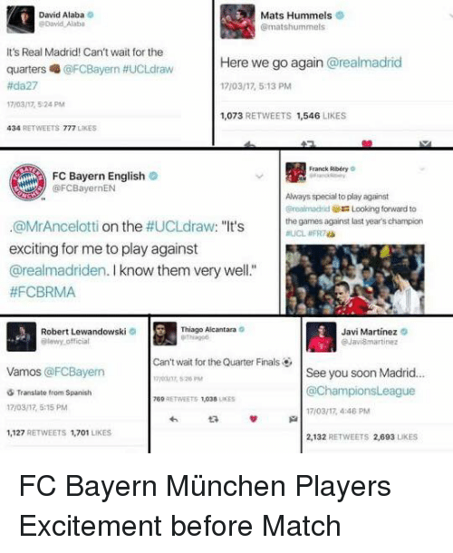 """lewandowski: David Alaba o  Mats Hummels  It's Real Madrid! Can't wait for the  quarters @FCBayern #UCLdraw  #da27  17/03/17, 524 PM  Here we go again @realmadrid  17/03/17, 5:13 PM  1,073 RETWEETS 1,546 LIKES  34 RETWEETS 777 LIKES  Franck Ribóry o  FC Bayern English o  Always special to play against  realmadridLooking forward to  the games against last year's champion  #UCL #FRas  @MrAncelotti on the #UCLdraw. """"It's  exciting for me to play against  @realmadriden. I know them very well.""""  #FCBRMA  Thiago Alcantara c  Robert Lewandowski  ewy official  Javi Martinez o  Can't wait for the Quarter Finals  Vamos @FCBayern  See you soon Madrid...  @ChampionsLeague  7/03/17, 4:46 PM  2,132 RETWEETS 2,693 LIKES  Translate from Spanish  17/03/17, 5:15 PM  69 RETWEETS 1,038 LES  1,127 RETWEETS 1,701 LIKES FC Bayern München Players Excitement before Match"""